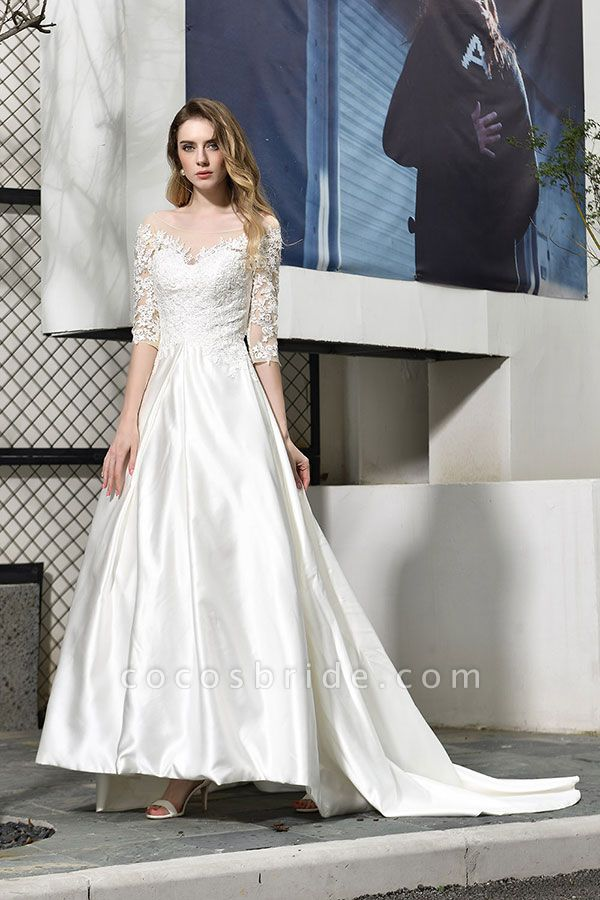 Elegant Lace-up A-Line Applique Satin Wedding Dress