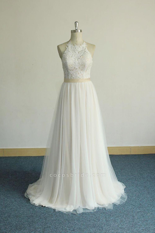 Elegant Halter Lace Tulle A-line Wedding Dress