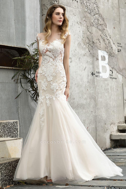 Mermaid Floor Length Lace Tulle Wedding Dresses