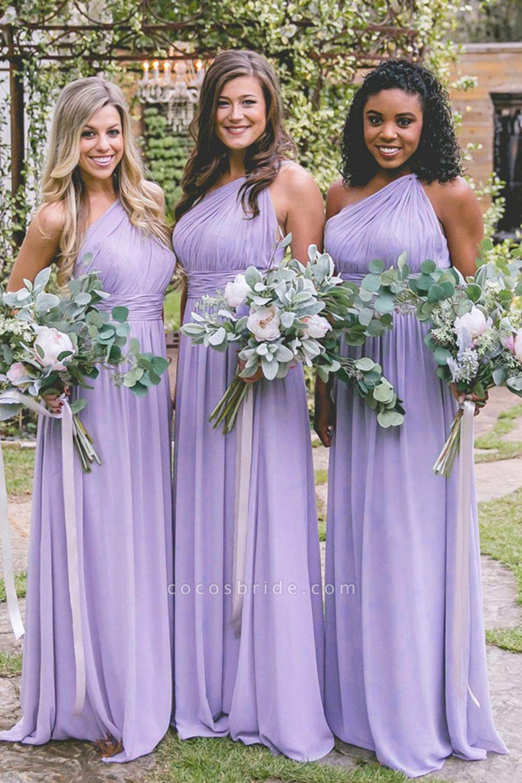 Elegant One Shoulder Ruffle Chiffon Bridesmaid Dress