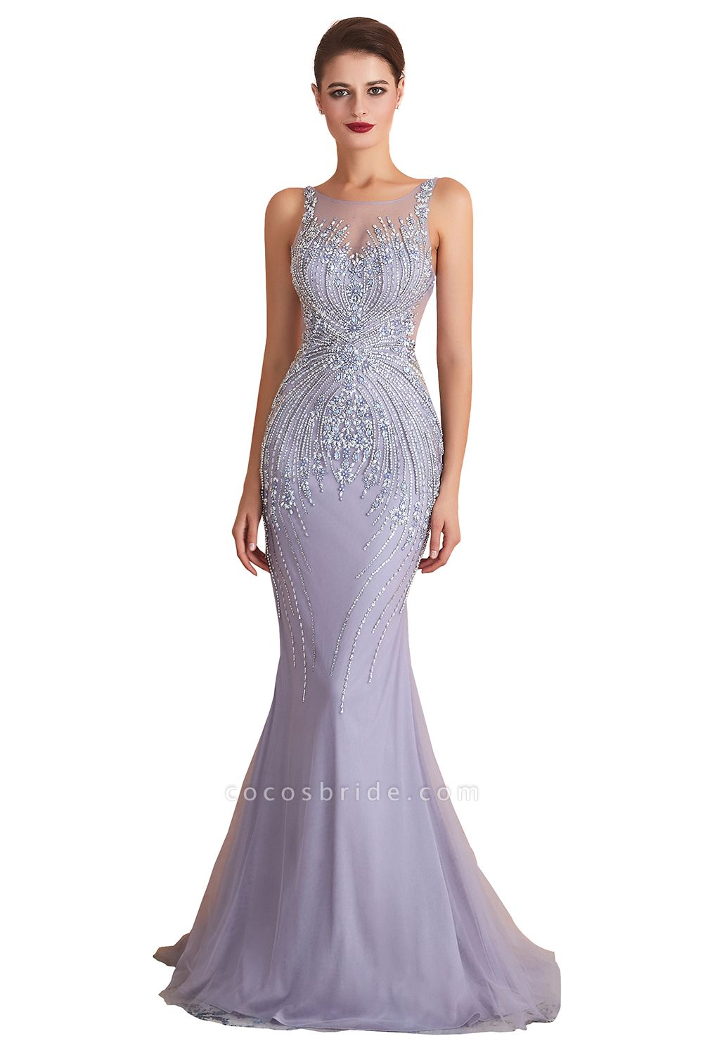 Graceful Jewel Tulle Mermaid Prom Dress