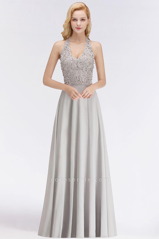 Halter Composite Emulation Silk A-line Floor Length Bridesmaid Dress