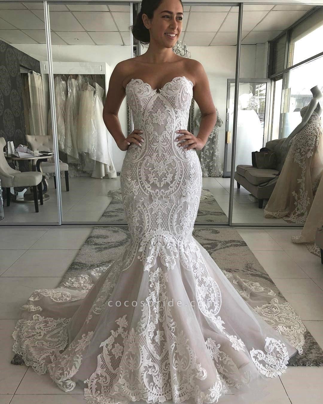 Amazing Strapless Appliques Mermaid Wedding Dress