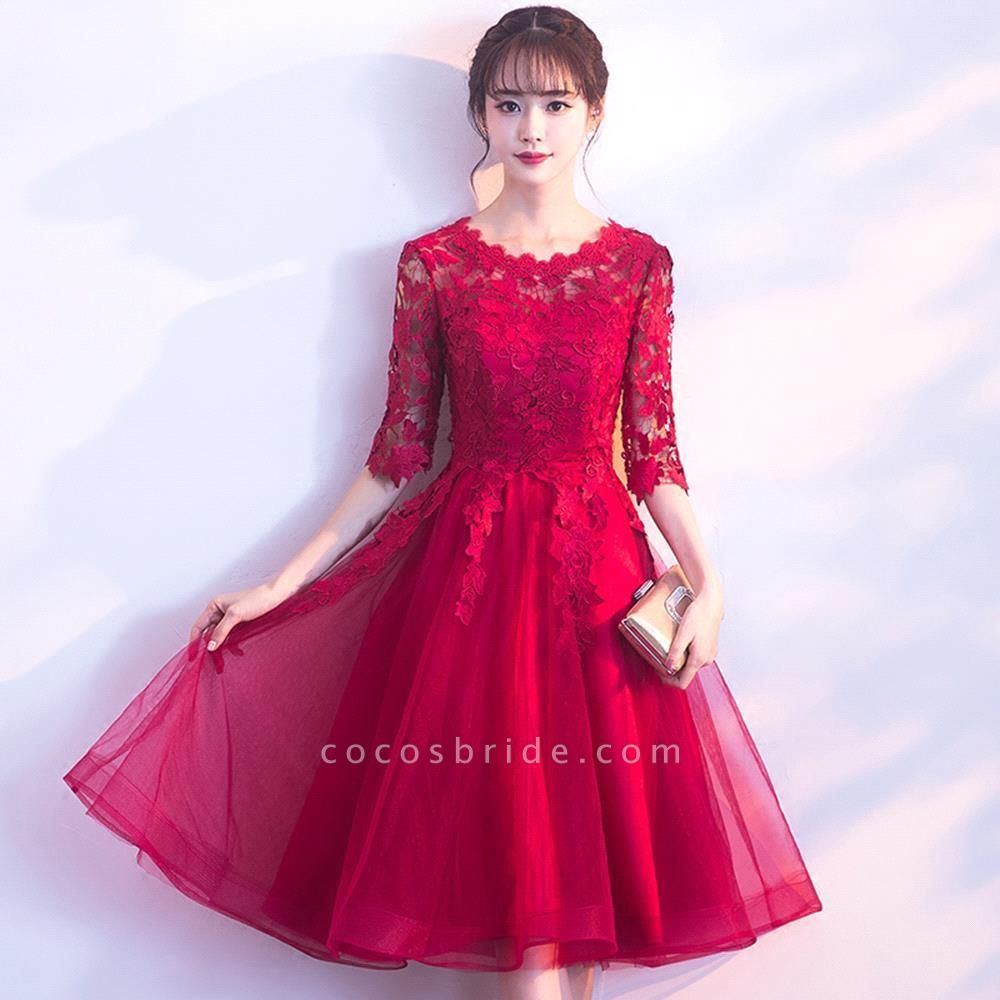 MARGARET   A-line Half sleeves Short Burgundy Appliques Tulle Homecoming Dresses
