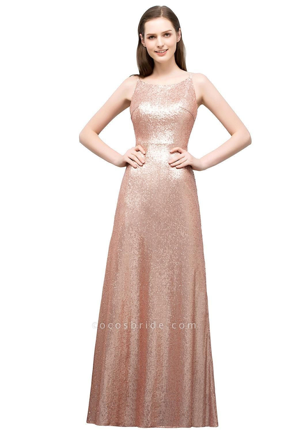 Wonderful Spaghetti Straps Sequined A-line Evening Dress