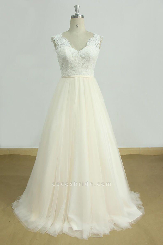 Graceful V-neck Lace Tulle A-line Wedding Dress
