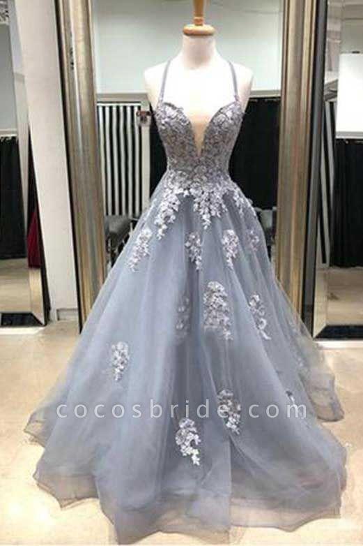 Amazing Spaghetti Straps Appliques A-line Prom Dress