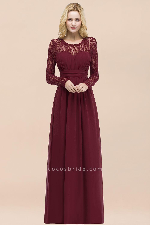 Elegant A-Line Chiffon Jewel Long Sleeves Ruffles Floor-Length Bridesmaid Dresses