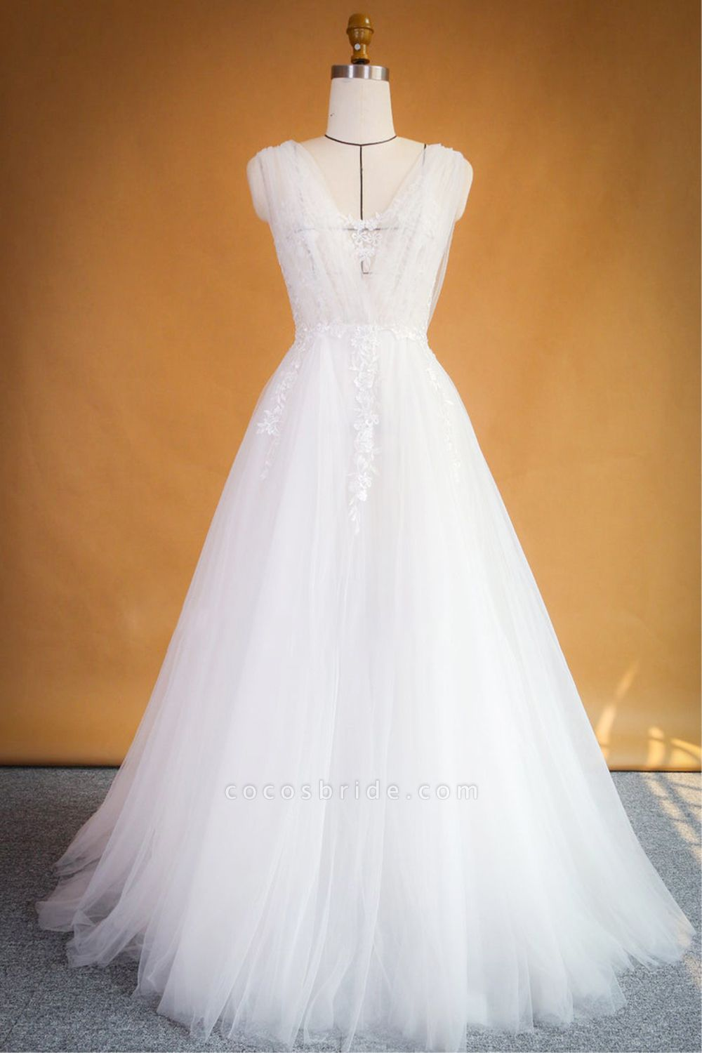 Ruffle Applqiues Tulle A-line Wedding Dress