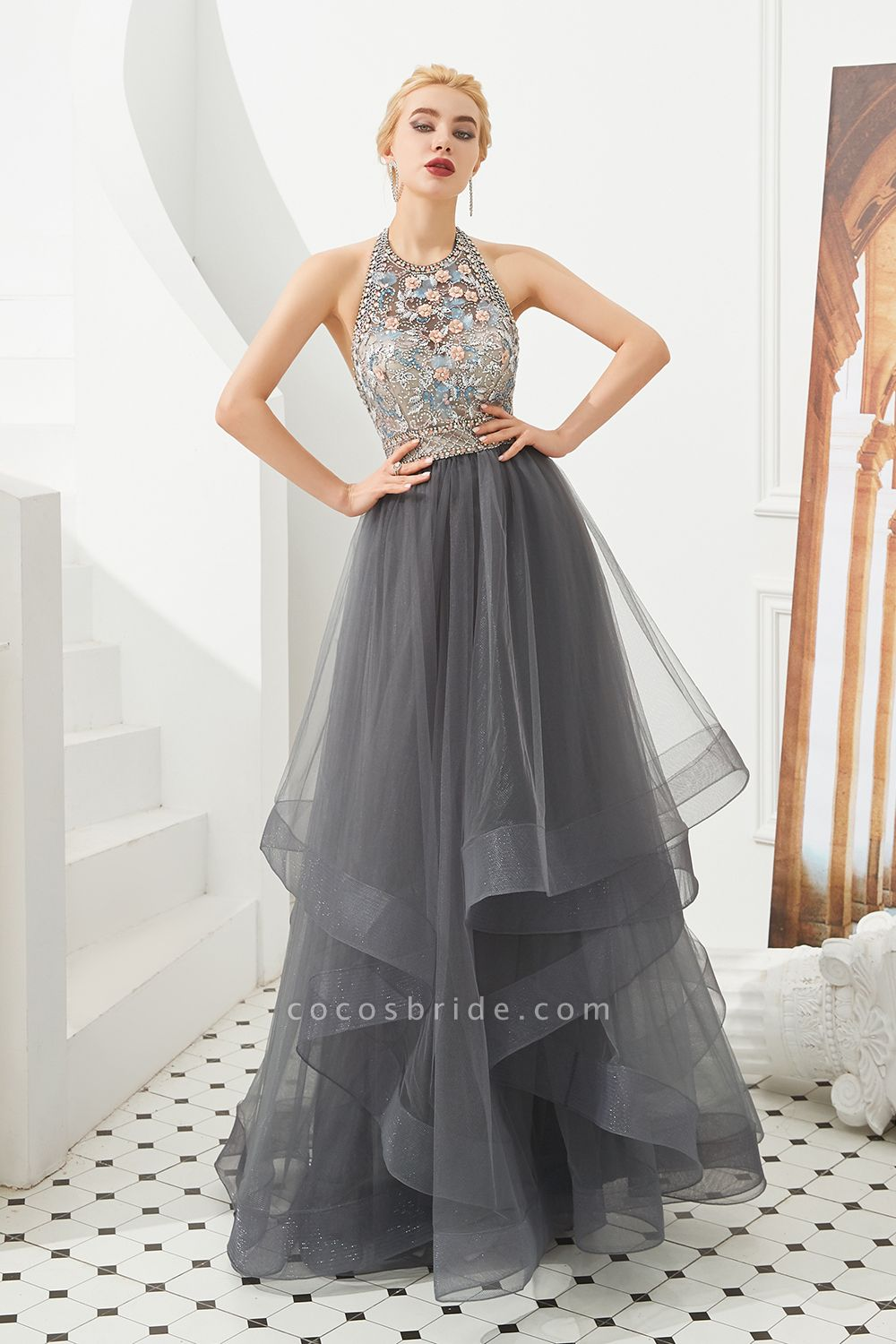 Chic Halter Tulle A-line Prom Dress