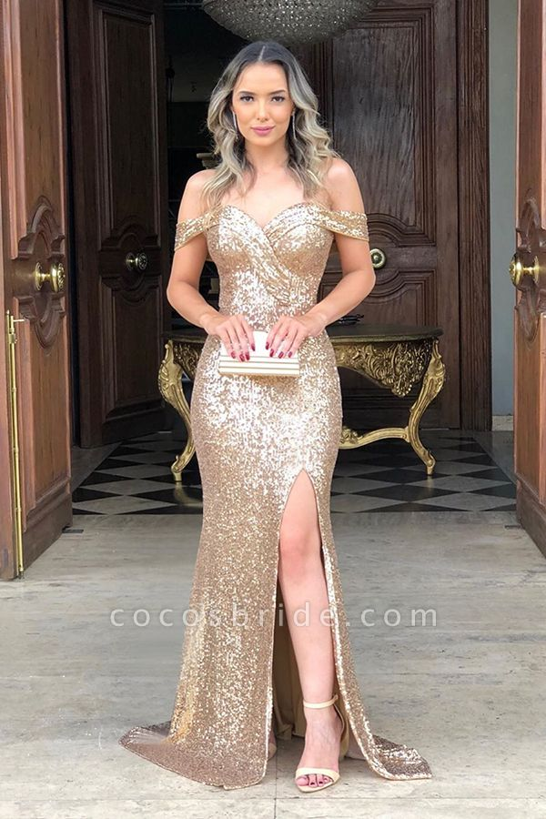 Off the Shoulder Front Slit Mermaid Sequined Prom Dresses | Sparkly Long Evening Dresses