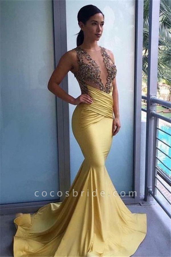 Jewel Deep V-neck Mermaid Floor Length Prom Dress