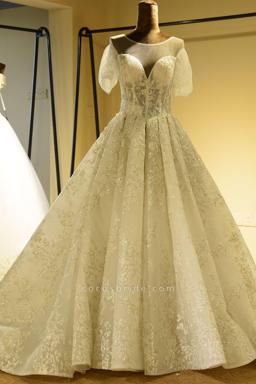 Glorious Short Sleeve Lace Tulle Wedding Dress