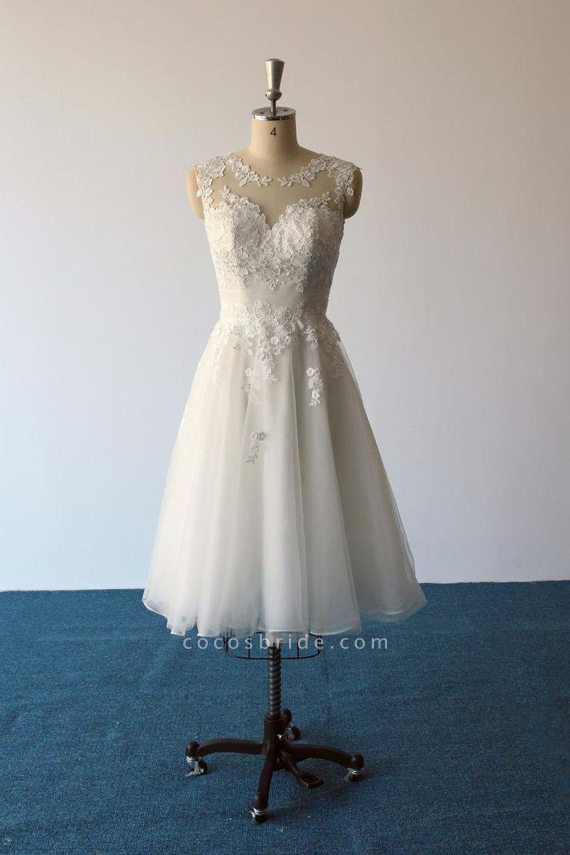 Illusion Lace Tulle A-Line Mini Wedding Dress