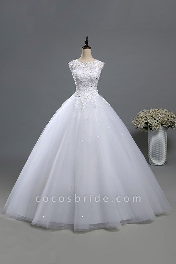 Lace-up Appliques Tulle A-line Wedding Dress