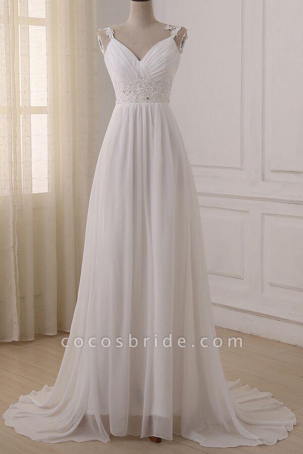 Ruffle V-neck Empire Chiffon A-line Wedding Dress