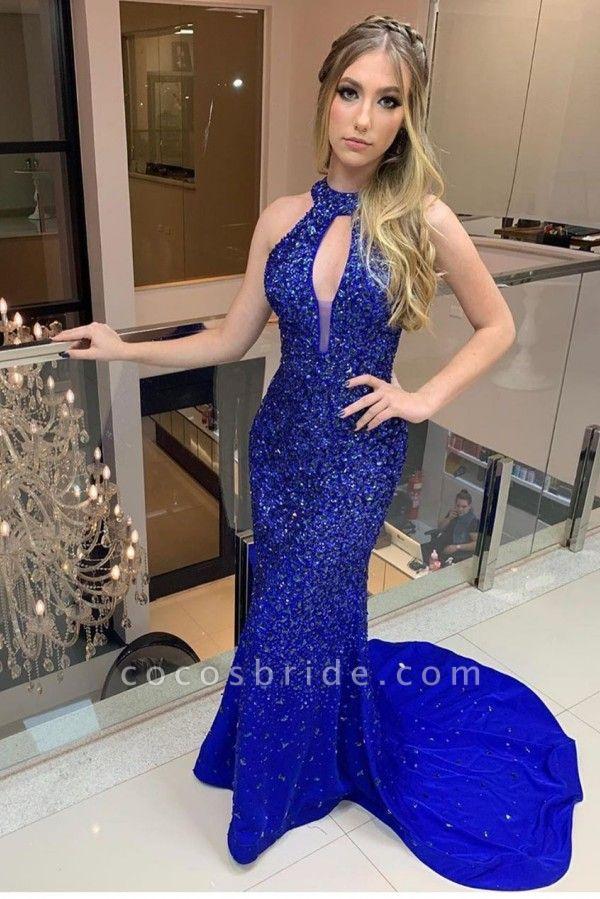 Eye-catching High Neck Satin Column Prom Dress
