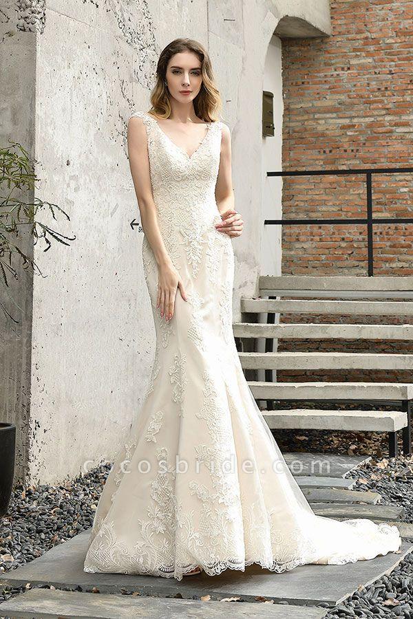Glamorous Mermaid Satin Lace Open Back Wedding Dress