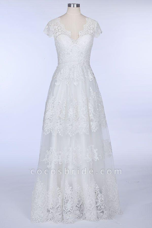 Best Cap Sleeve V-neck Sweep Train Wedding Dress