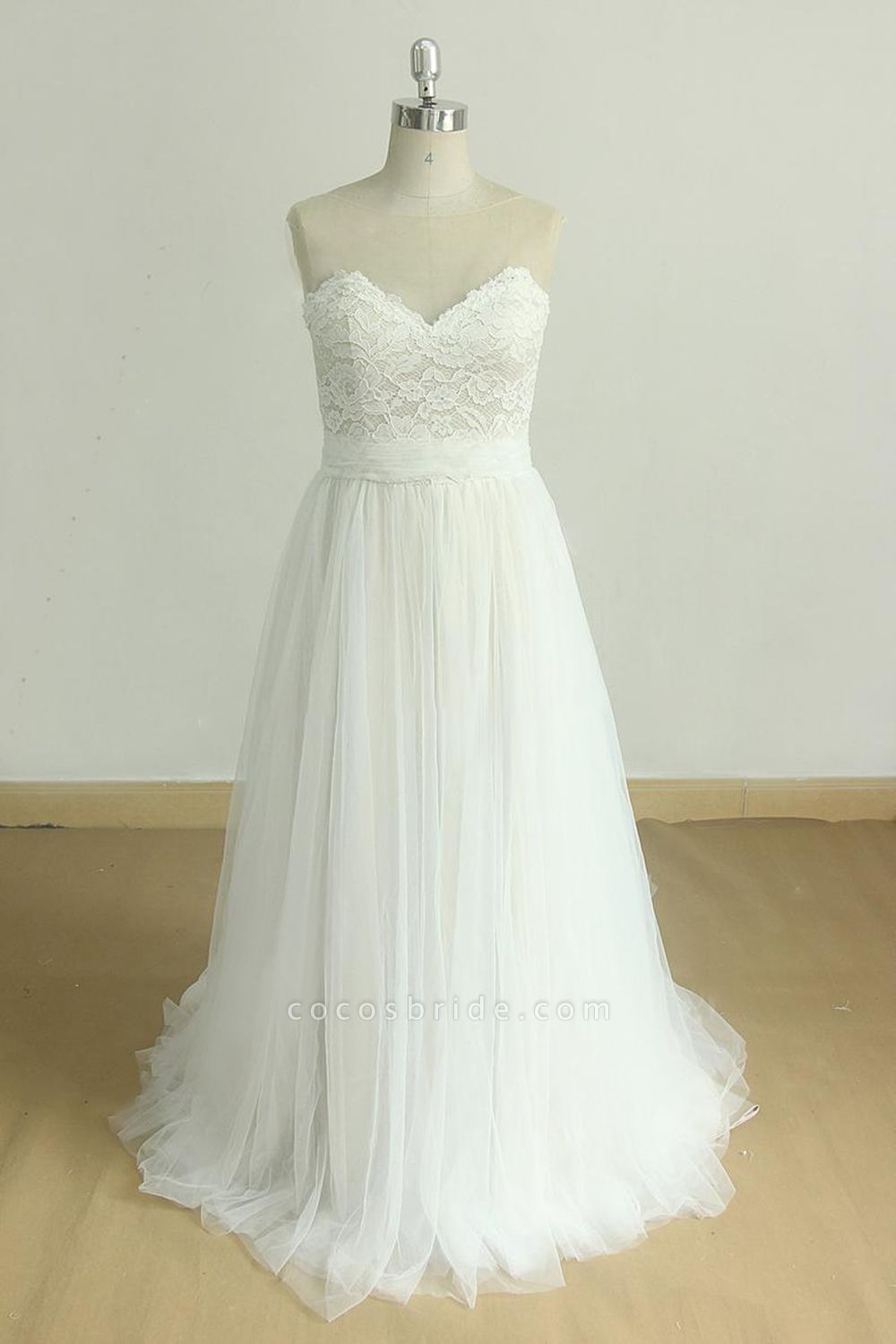 Graceful Illusion Lace Tulle A-line Wedding Dress