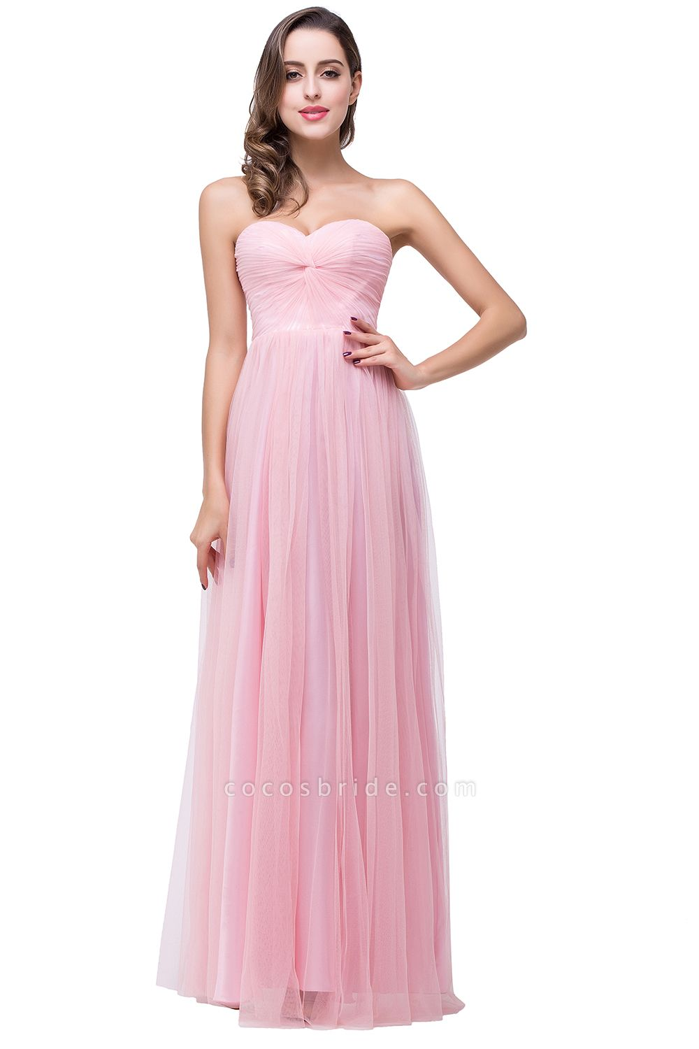 Glorious Strapless Tulle A-line Bridesmaid Dress