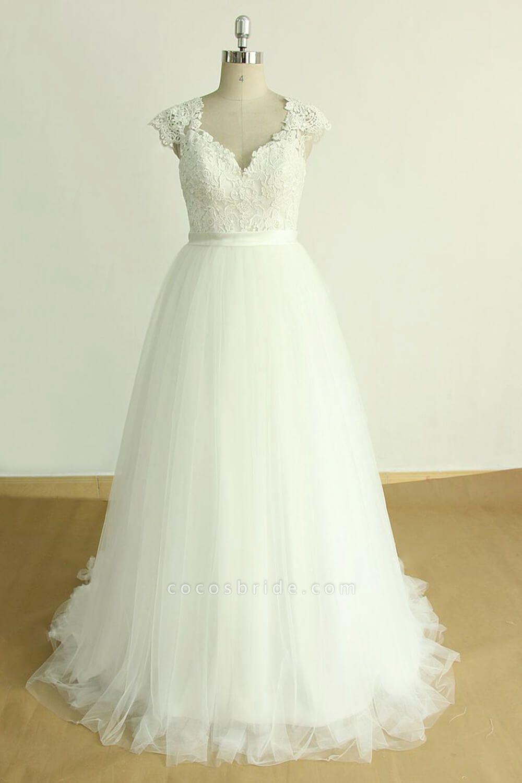 Appliques Cap Sleeve Tulle A-line Wedding Dress