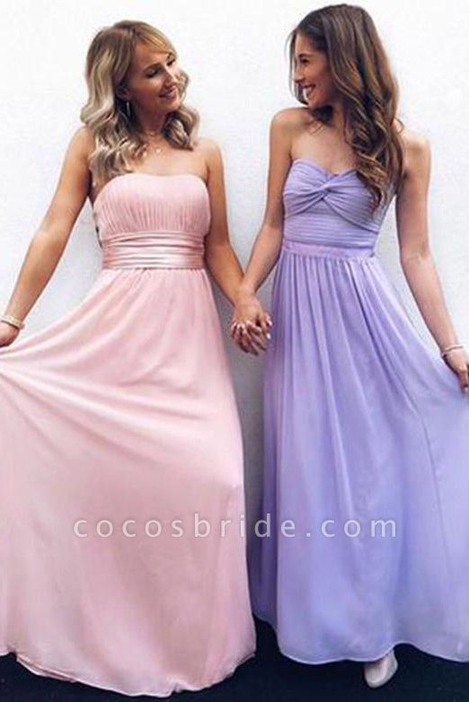 Affordable Strapless Chiffon A-line Prom Dress