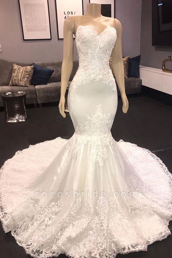 Luxury Sweetheart Appliques Mermaid Wedding Dress