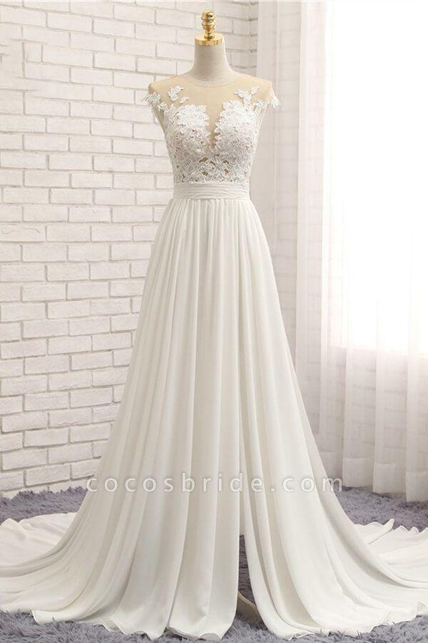 Front Slit Appliques Chiffon A-line Wedding Dress