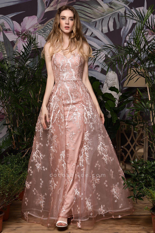 Dusty Pink Spaghetti Strap A-line Lace Prom Dress