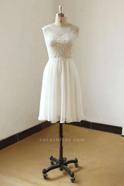 Illusion Lace Chiffon A-line Mini Wedding Dress