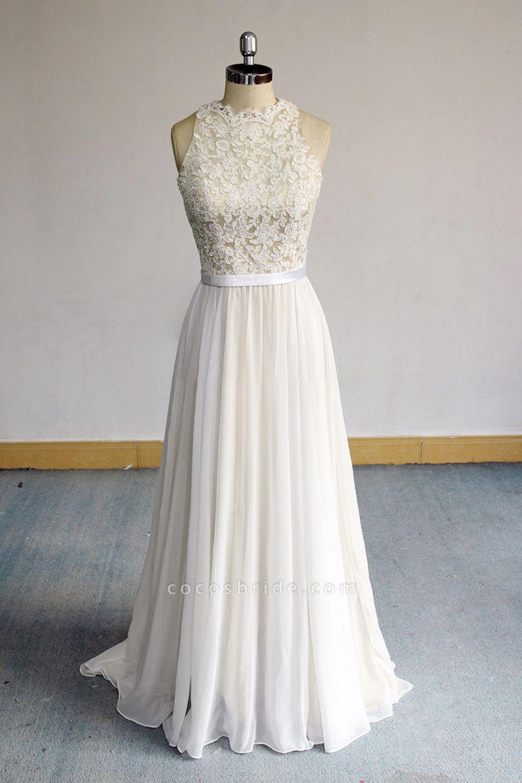 Eye-catching Lace Chiffon A-line Wedding Dress