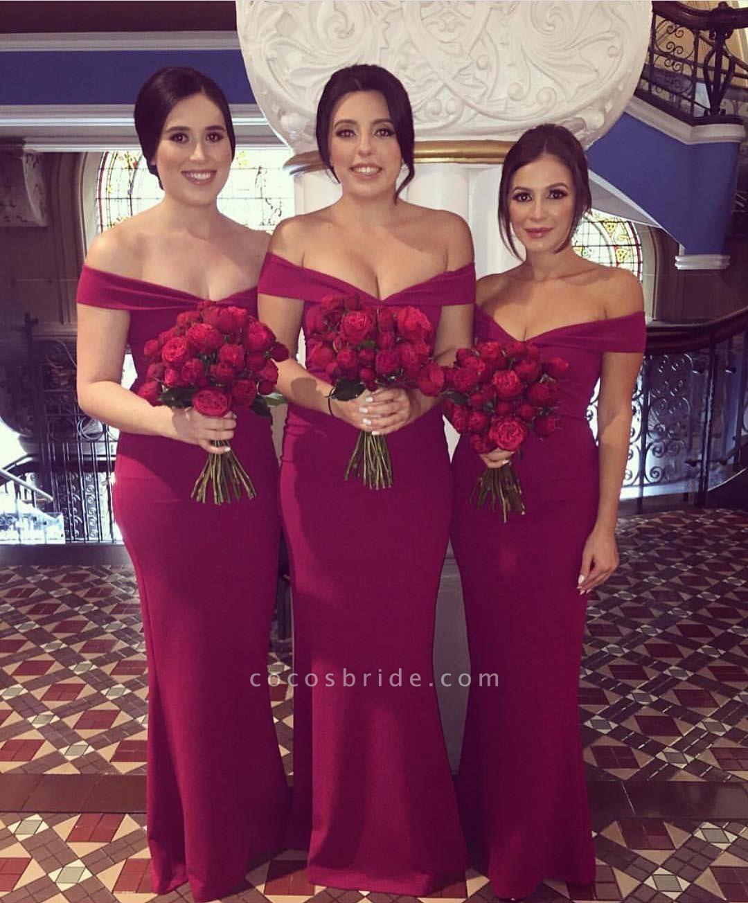 Burgundy Floor Length Form-fitting Bridesmaid Dresses | Cheap Maid of Honor Dresses