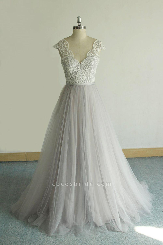 V-neck Cap Sleeve Lace Tulle Wedding Dress