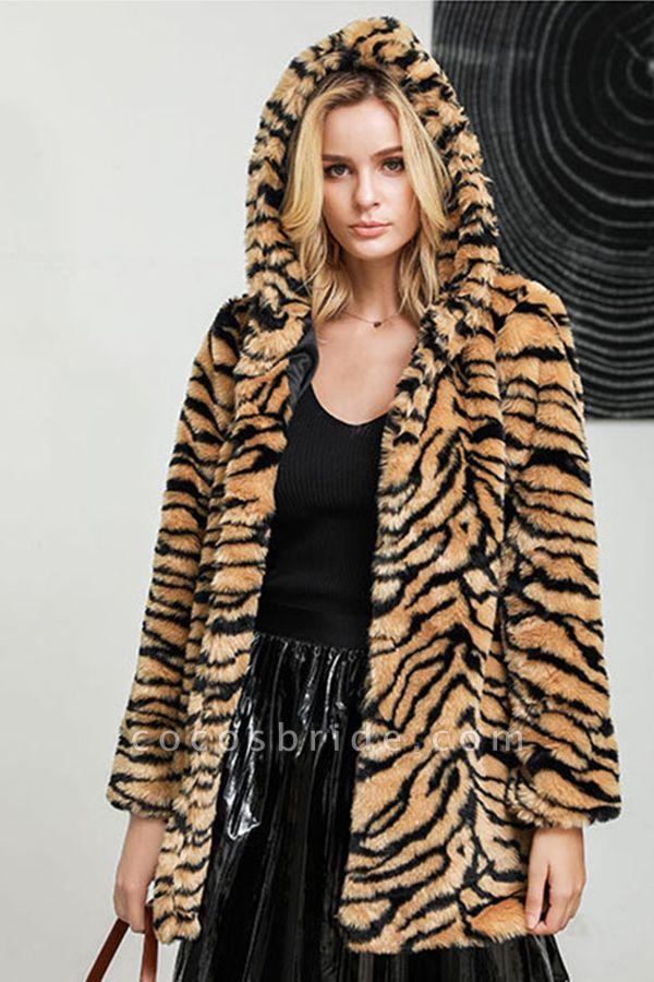Daily Fall & Winter Hooded Leopard Faux Fur Coat