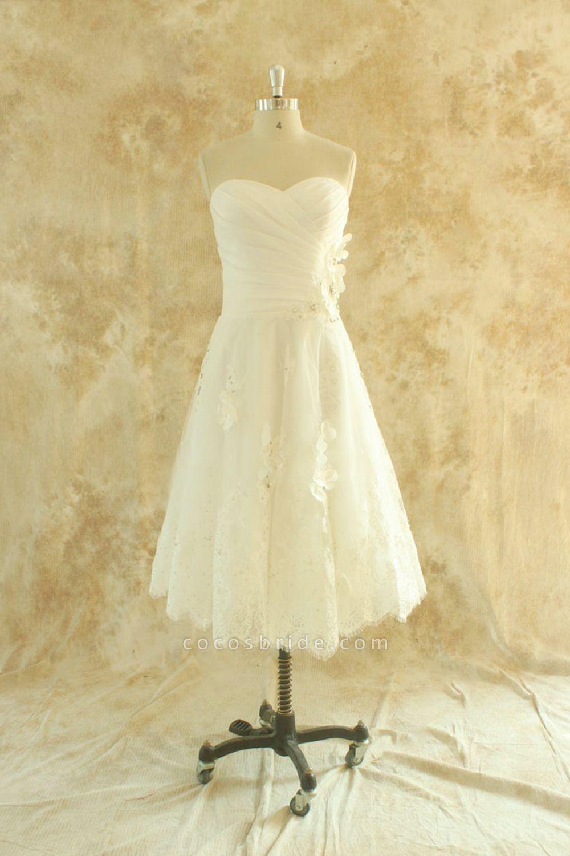 Strapless Lace Chiffon A-line Mini Wedding Dress