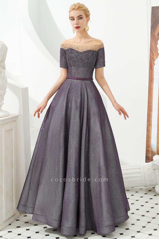 Fascinating Jewel Bright silk Princess Prom Dress