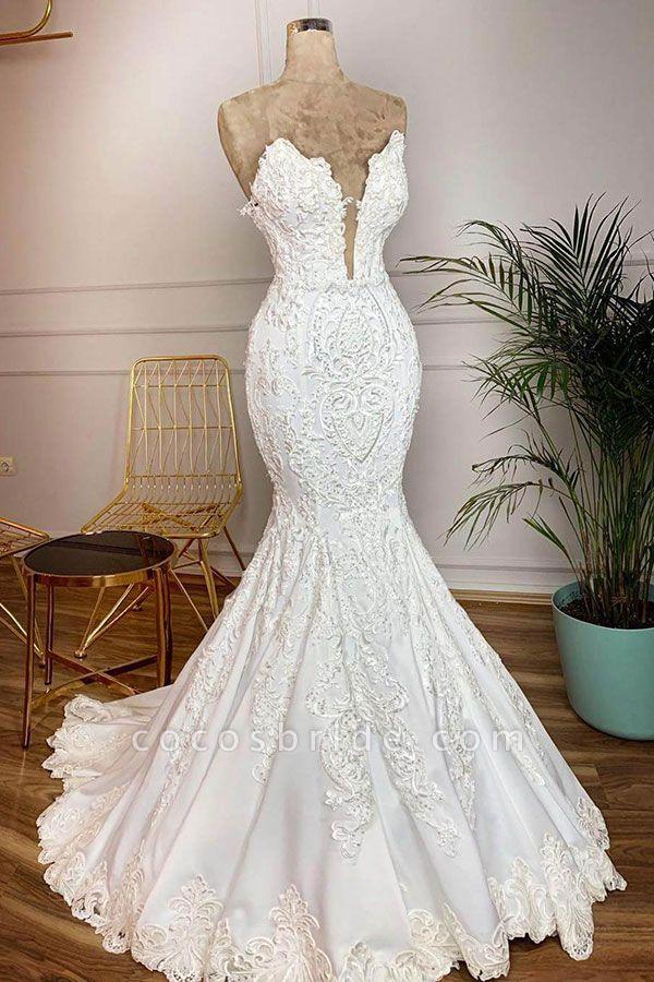 Strapless Appliques Satin Mermaid Wedding Dress