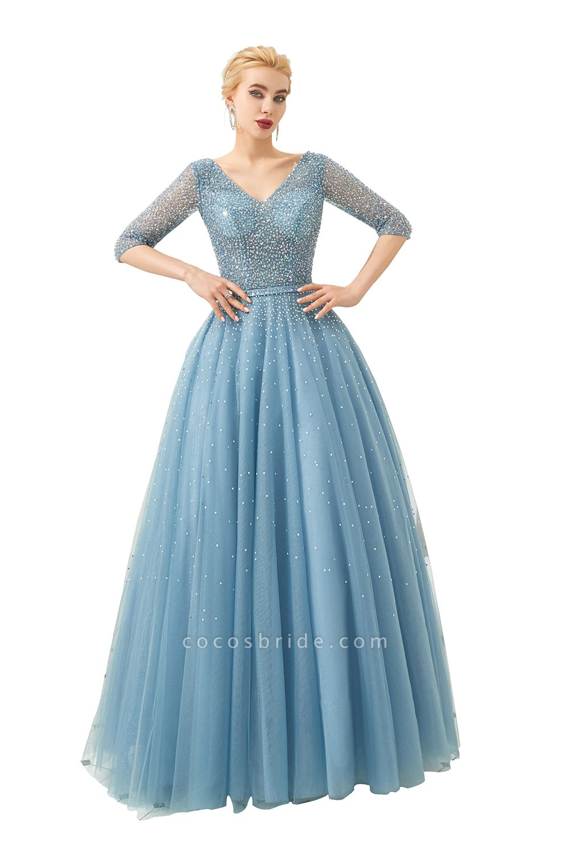 Chic V-neck Tulle A-line Prom Dress