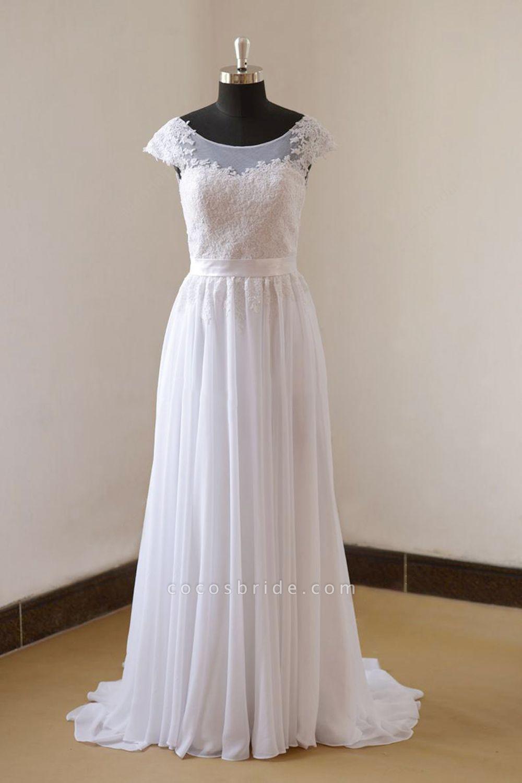 Cap Sleeve Lace Chiffon A-line Wedding Dress