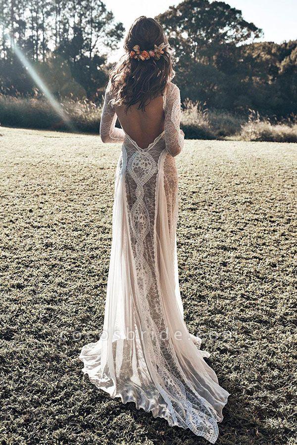 Elegant Long Sleeve Lace Sheath Wedding Dress