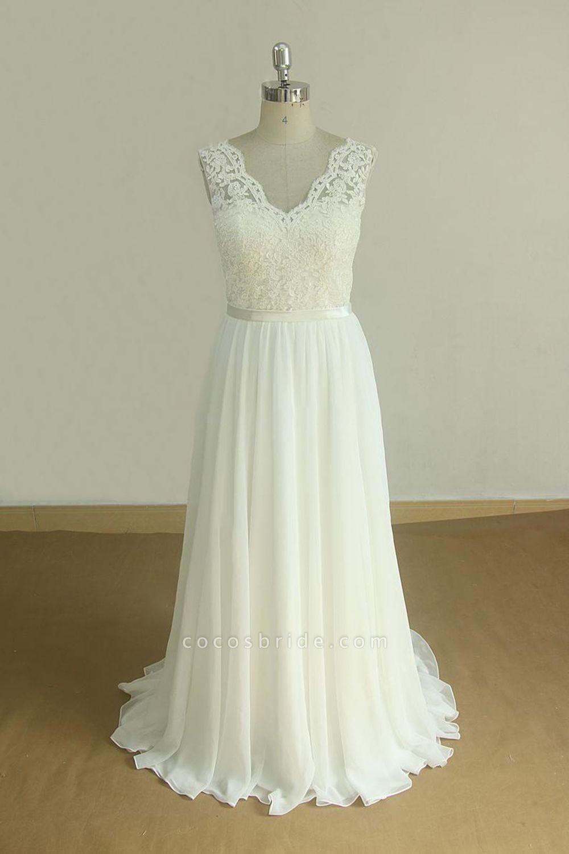 Affordable V-neck Lace Chiffon Wedding Dress
