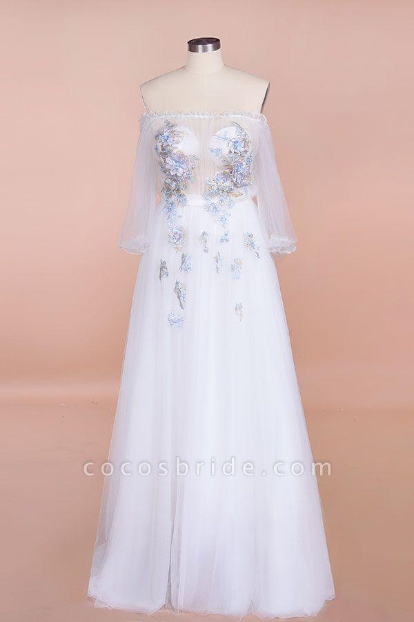 Off-the-Shoulder Appliques Tulle Wedding Dress