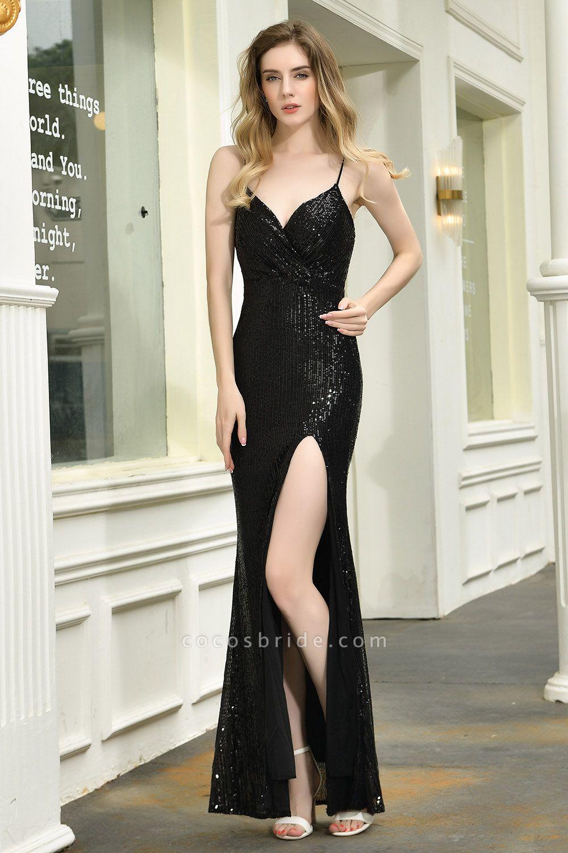 Amazing Spaghetti Strap Split Sequins Prom Dress