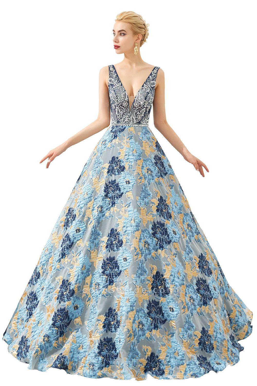 Beautiful V-neck Satin A-line Prom Dress