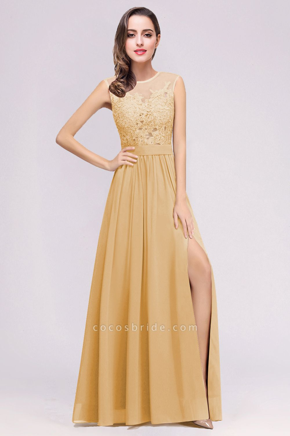 Lace Chiffon Floor-Length A-line Bridesmaid Dress