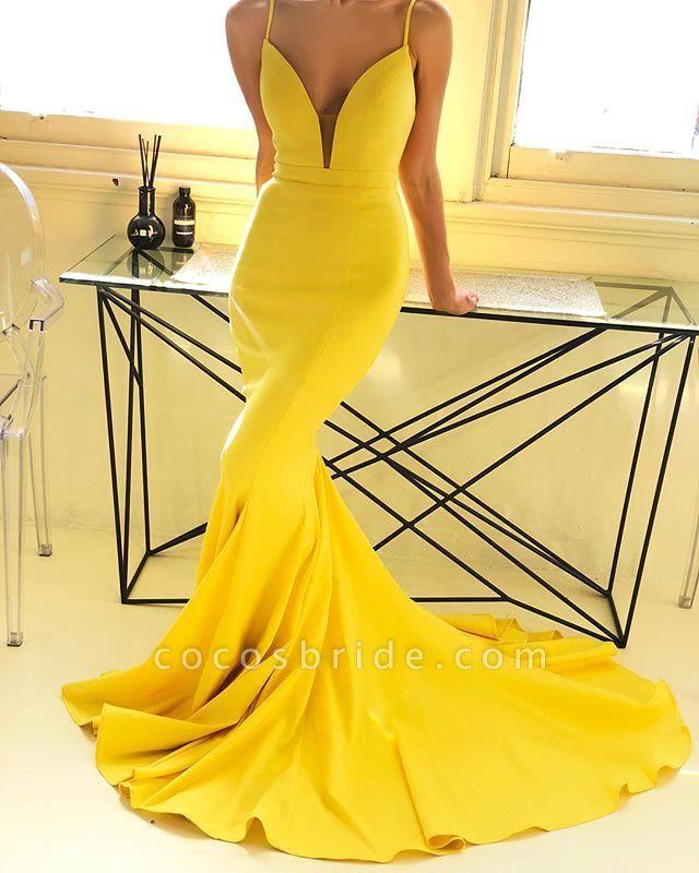Marvelous Spaghetti Straps Stretch Satin Mermaid Prom Dress