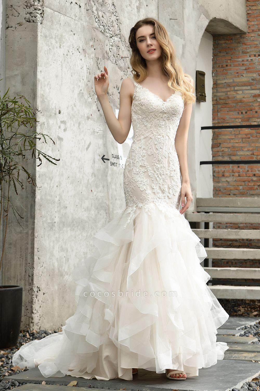Mermiad Sweetheart Floral Lace Floor Length Wedding Dress