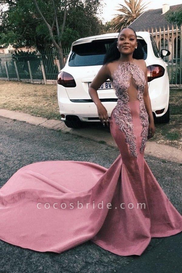 Jewel Sleeveless Sheer Appliques Mermaid Sexy Prom Dresses | Court Train Evening Dresses