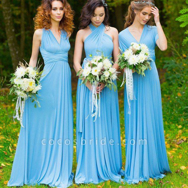 Convertible Blue Long Bridesmaid Dresses   Sexy Maid of Honor Dresses